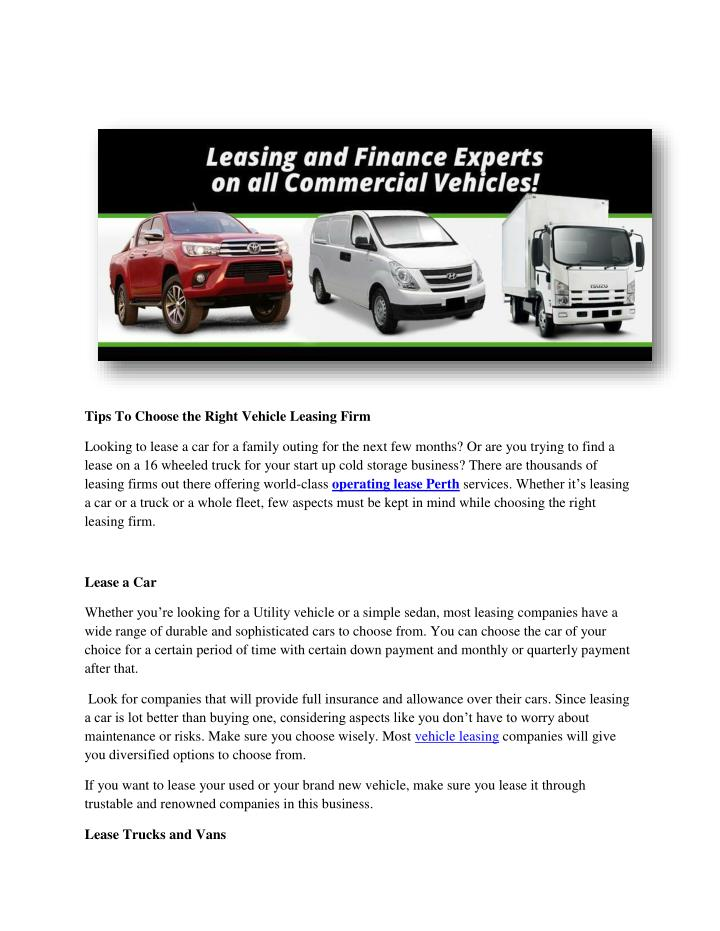 Tips To Choose the Right Vehicle Leasing Firm
