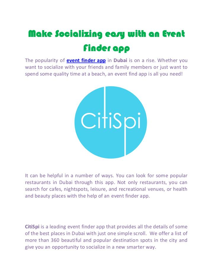 Make Socializing easy with an Event