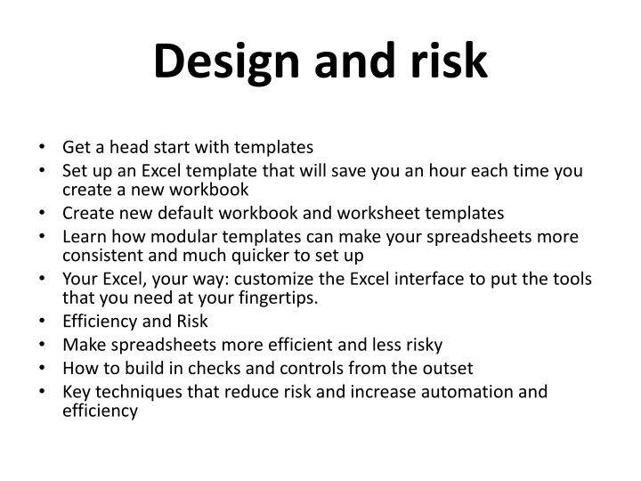Design and risk