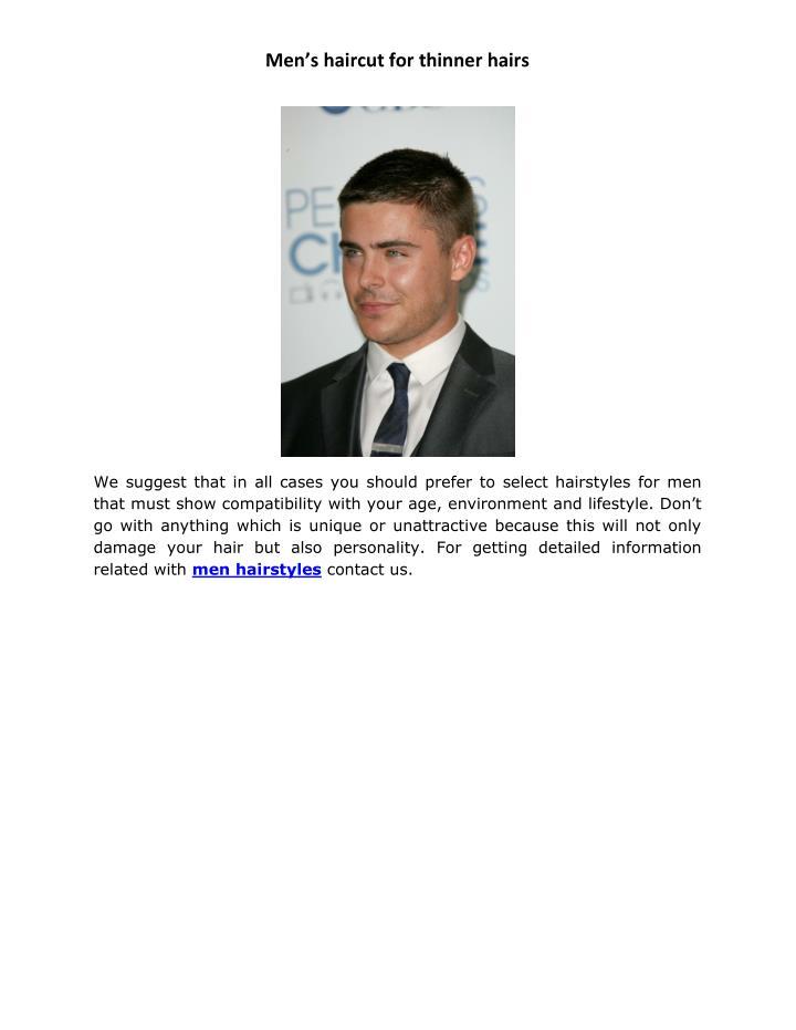 Men's haircut for thinner hairs