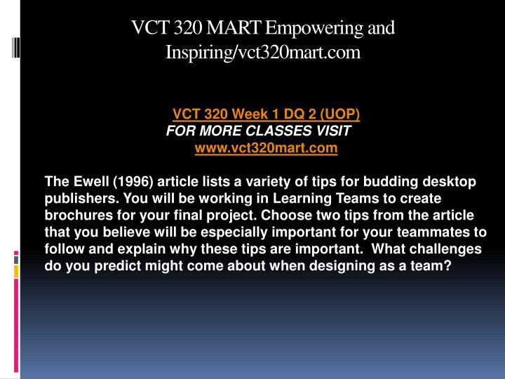 VCT 320 MART Empowering and Inspiring/vct320mart.com