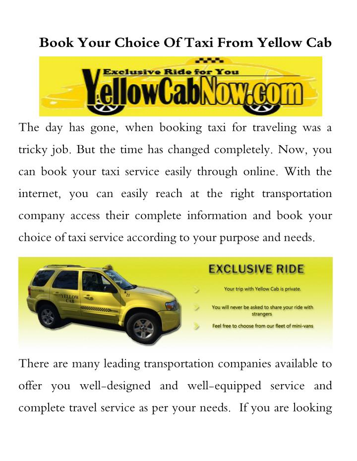 PPT - Book your choice of taxi from yellow cab PowerPoint