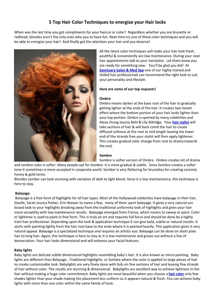 PPT - 5 Top Hair Color Techniques to energize your Hair ...