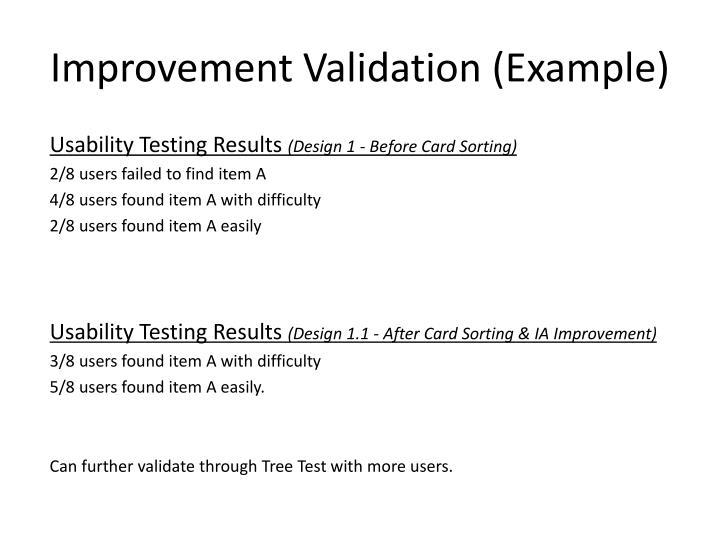 Improvement Validation (Example)