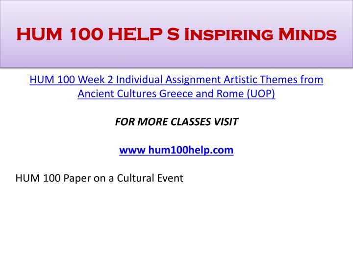 hum100 artistic themes from ancient cultures greece This sample paper on (sample research paper on artistic themes from ancient cultures: greece and rome) was uploaded by one our contributors and does not necessarily reflect how our professionals write our papers.