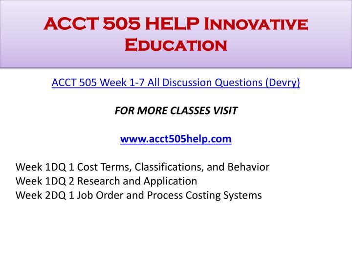ACCT 505 HELP Innovative Education