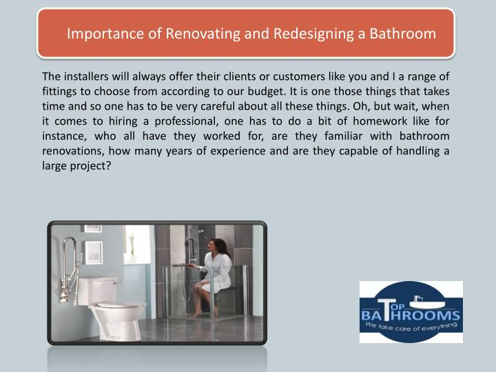 Importance of Renovating and Redesigning a Bathroom