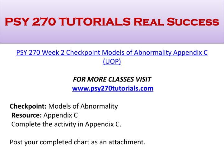psy270 appendix c Complete the activity in appendix c post your completed chart as an attachment - 307271.