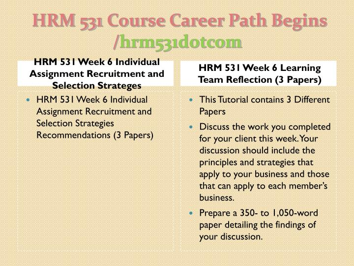 hrm 531 week 6 learning team reflection Hrm 531 hrm531 week six learning team reflection discuss the work you completed for your client this week your discussion should include the principles and strategies that apply to your business and those that can apply to each member's business.