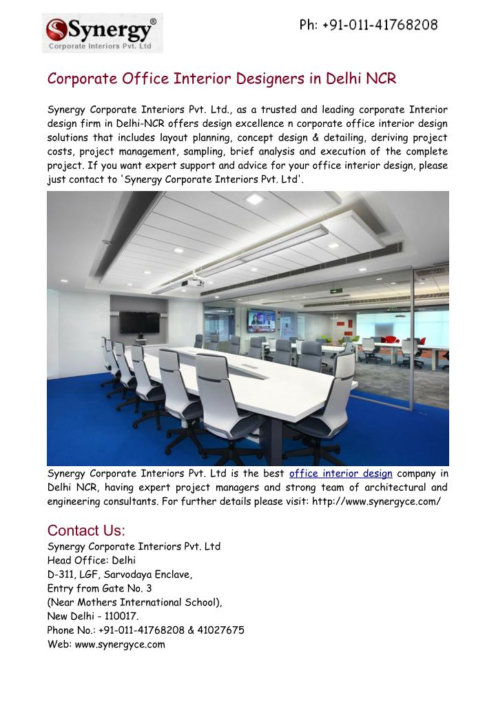 ppt corporate office interior designers in delhi ncr powerpoint