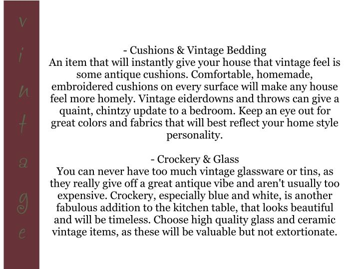 - Cushions & Vintage Bedding