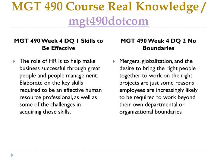 MGT 490 Course Real Knowledge /