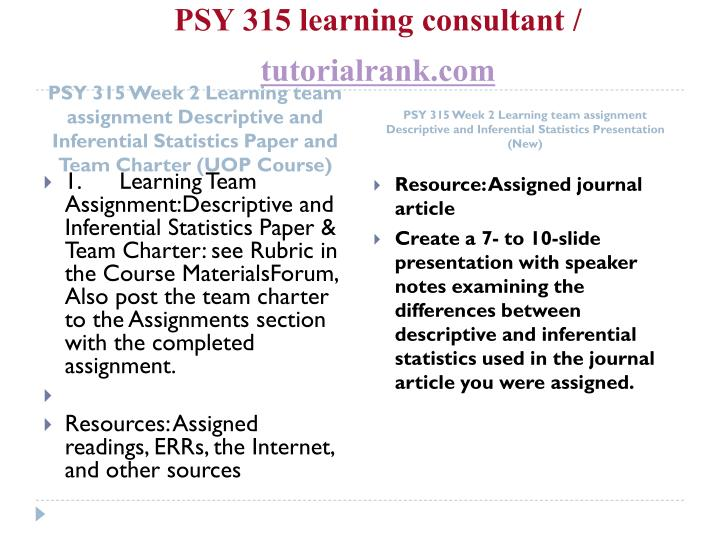 PSY 315 learning consultant /