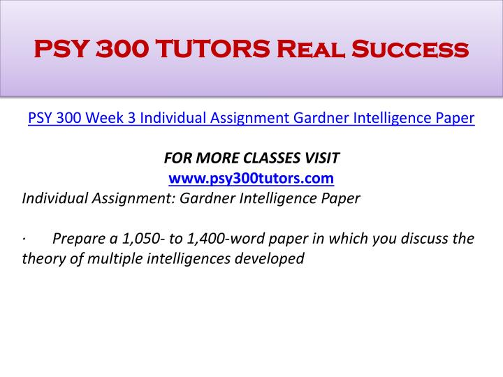 week 4 assignment gardners intelligence theory