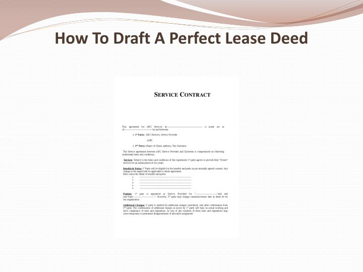 how to draft a perfect lease deed n.