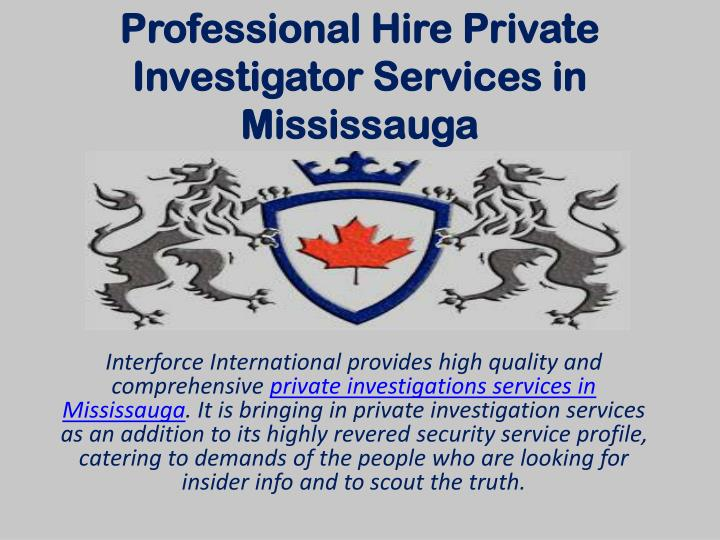 professional hire private investigator services in mississauga n.