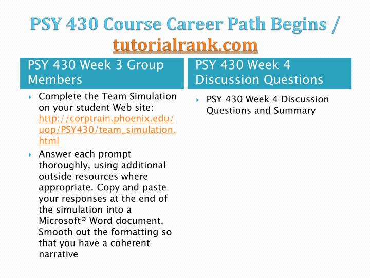 psy 430 team simulation Individual assignment: group communication video cases review the working in groups videos located on your student website choose three of the four videos to watch do not use th.