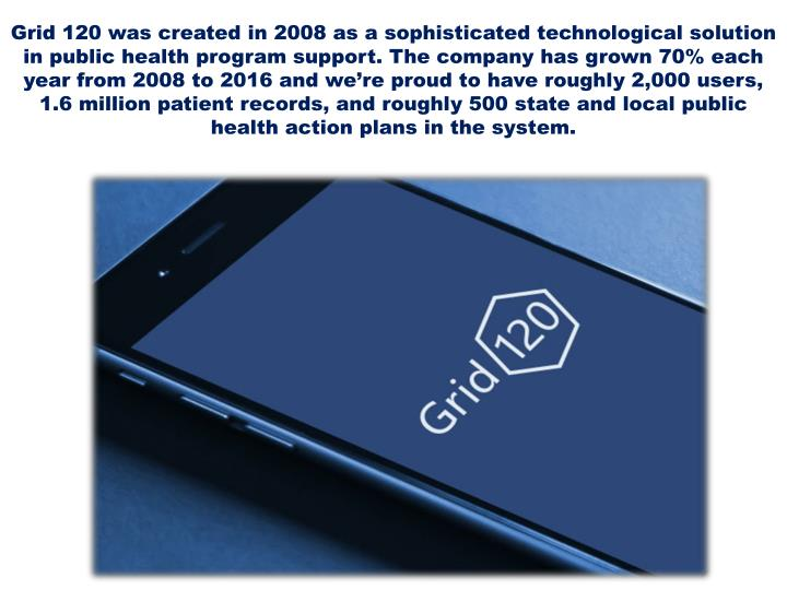 Grid 120 was created in 2008 as a sophisticated technological solution in public health program support. The company has grown 70% each year from 2008 to 2016 and we're proud to have roughly 2,000 users, 1.6 million patient records, and roughly 500 state and local public health action plans in the system.