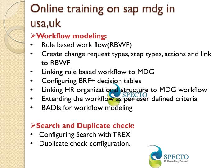Online training on sap mdg in