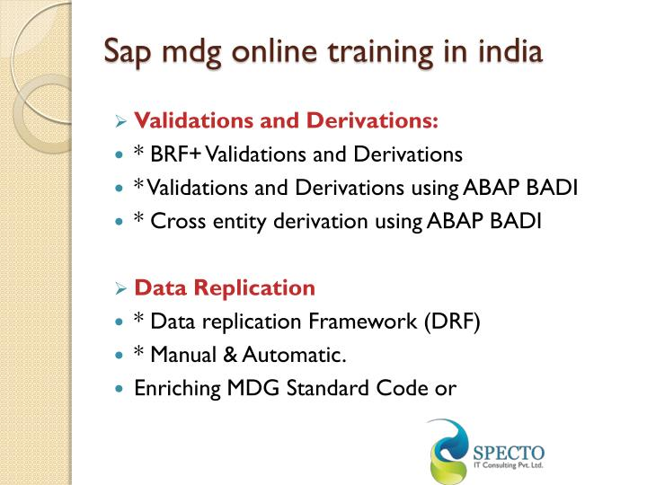 Sap mdg online training in india