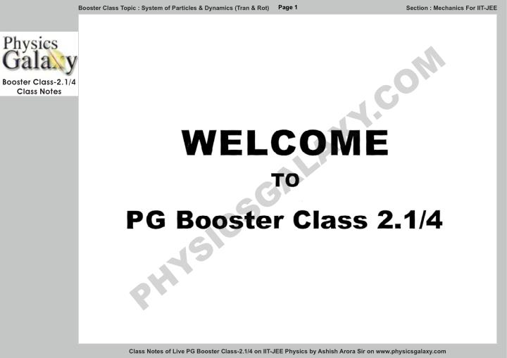 PPT - Physics Galaxy Live Booster Class 2 1 Notes PowerPoint