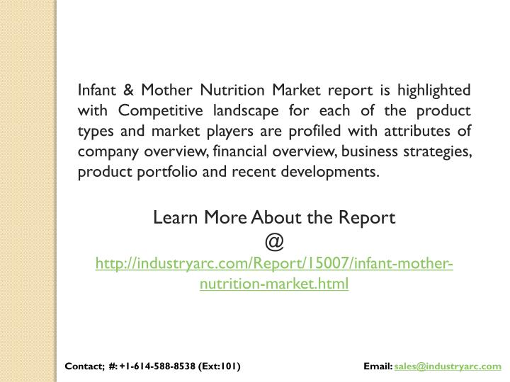 Infant & Mother Nutrition Market report is