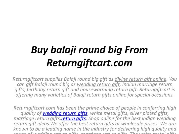 Buy Balaji Round Big From Returngiftcart Supplies Gift As Divine Return Online