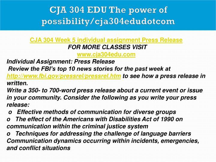 press release cja 304