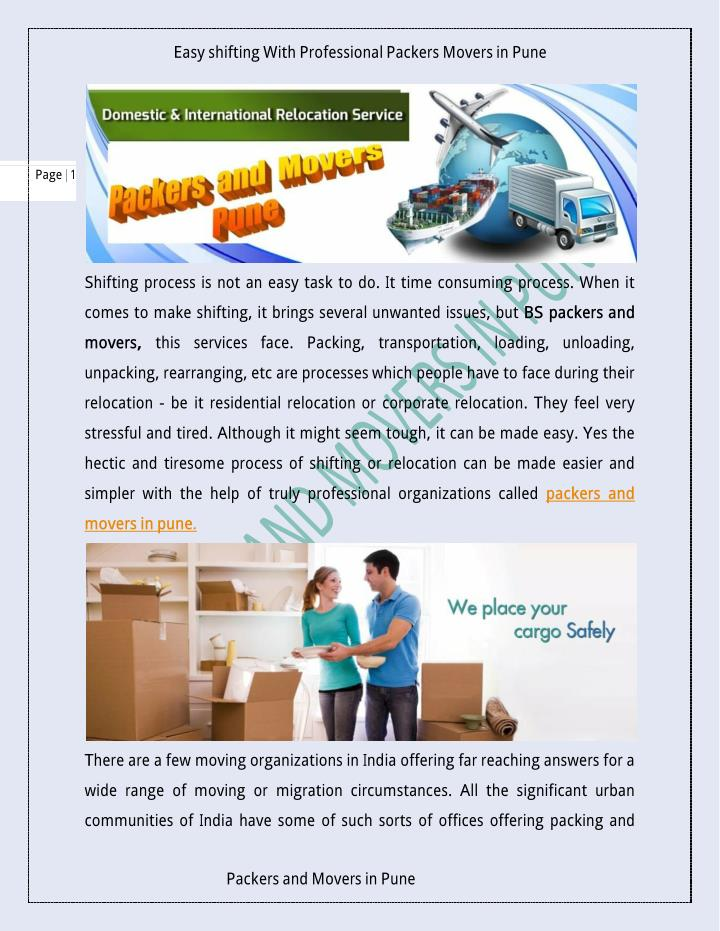 Easy shifting With Professional Packers Moversin Pune
