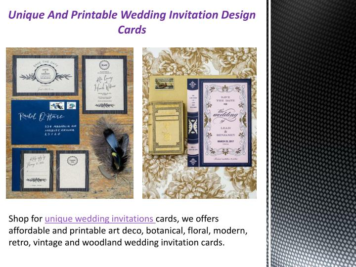 Ppt Unique And Printable Wedding Invitation Design Cards