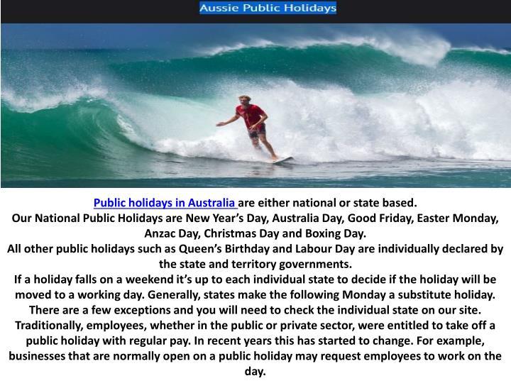 Public holidays in Australia