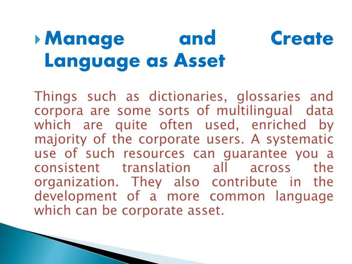 Manage and Create Language as Asset