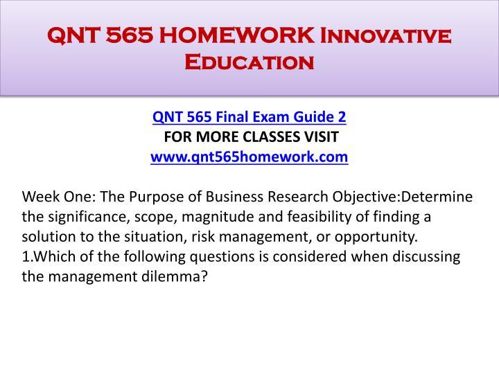Qnt 565 homework innovative education1