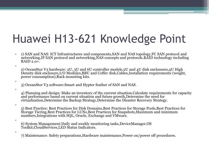 Huawei h13 621 knowledge point