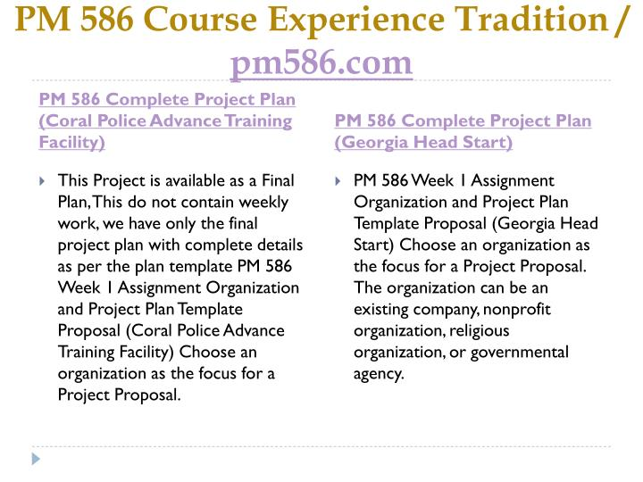 Pm 586 course experience tradition pm586 com2