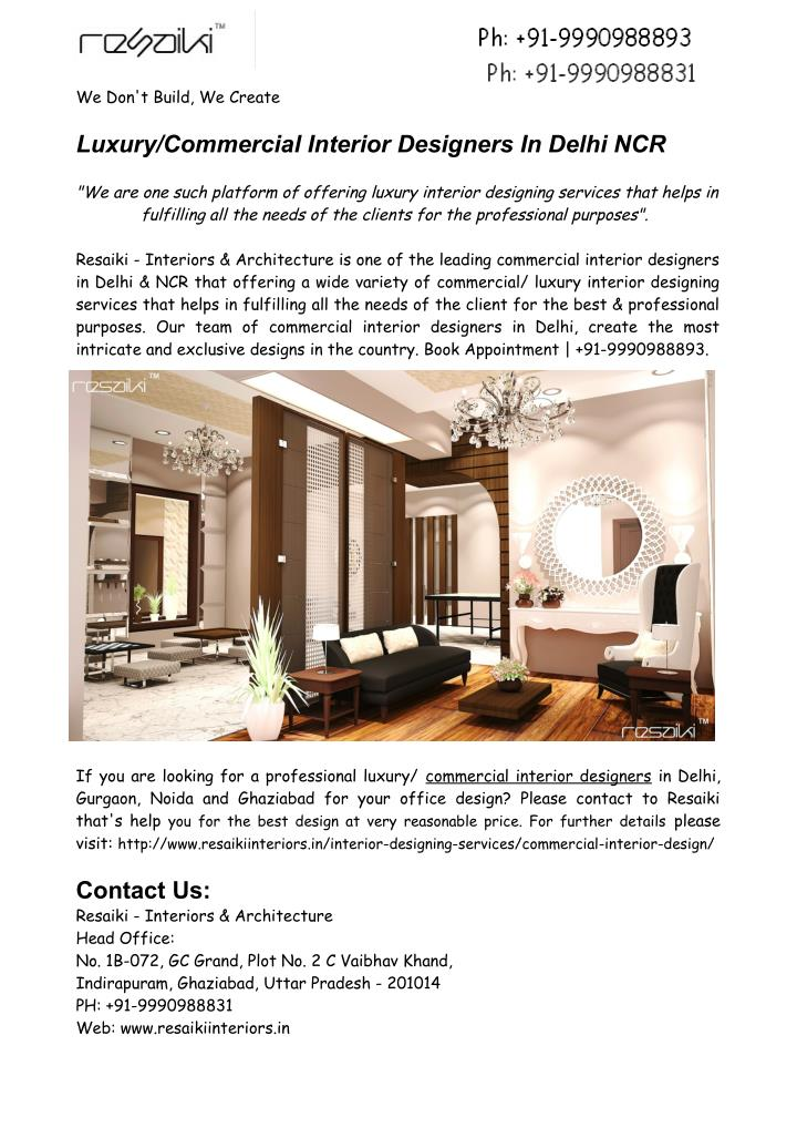 ppt luxury commercial interior designers in delhi ncr powerpoint