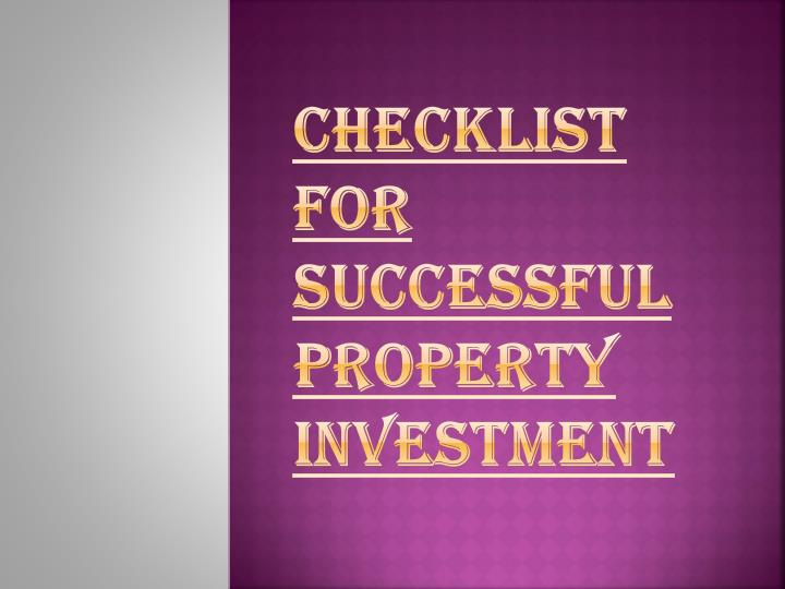 Checklist for successful property investment
