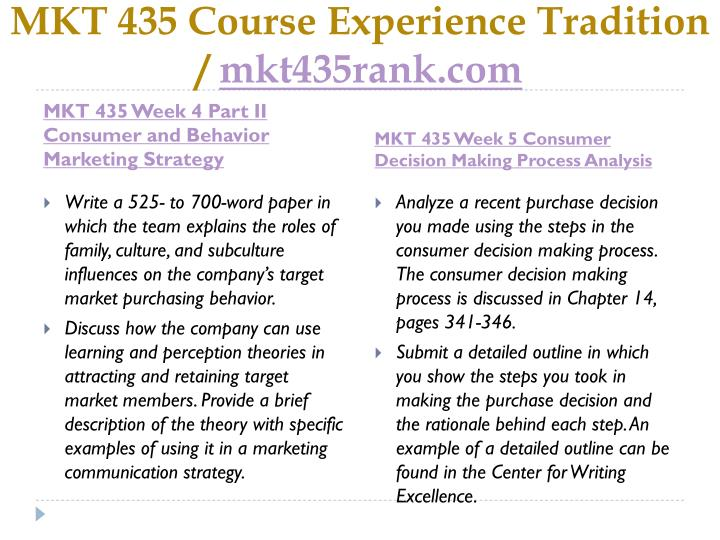 mkt 435 consumer behavior For more classes visit wwwmkt435rankcom choose a company with which you are familiar prepare a 1,050- to 1,400-word paper in which the interrelationship between consumer behavior and.