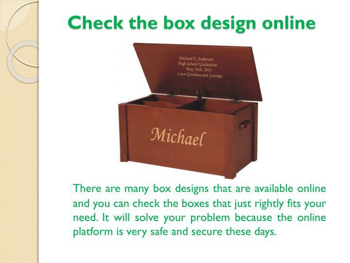 Check the box design online