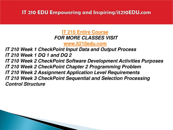 it 210 week 3 checkpoint tax It 210 week 5 checkpoint - simple array process download here: checkpoint: simple array process complete ch 6, exercise 3, on p 198 you are required to generate only the pseudocode, as .