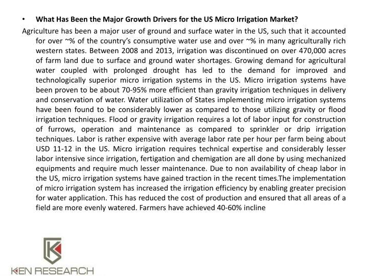 What Has Been the Major Growth Drivers for the US Micro Irrigation Market