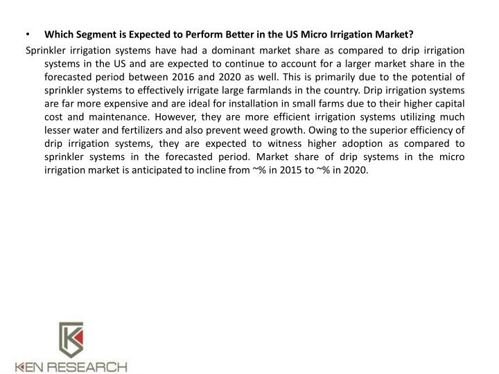 Which Segment is Expected to Perform Better in the US Micro Irrigation Market