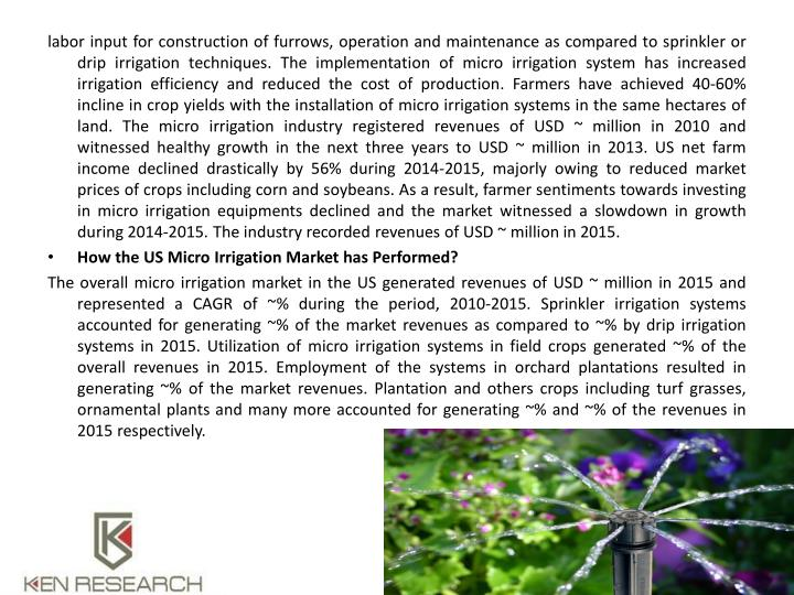 Labor input for construction of furrows, operation and maintenance as compared to sprinkler or drip ...