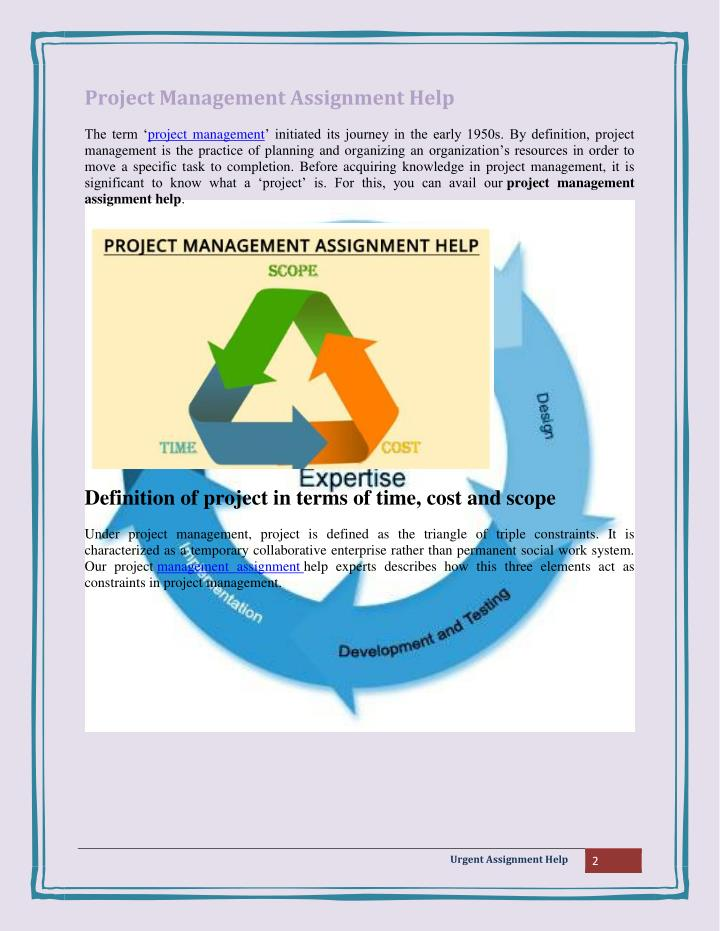 project management assignment help If you are looking for project management assignment help, allow our dedicated and experienced team to write it for you we provide quality.