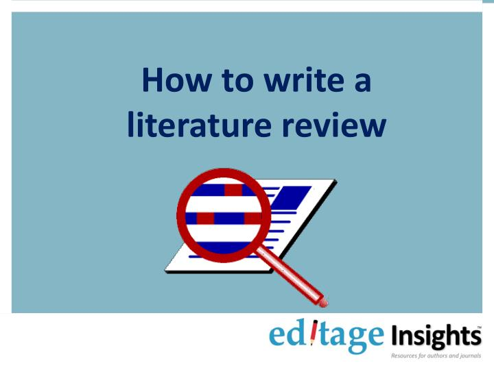how to write a literature review n.