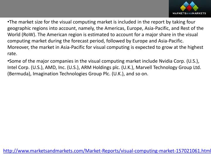 The market size for the visual computing market is included in the report by taking four geographic regions into account, namely, the Americas, Europe, Asia-Pacific, and Rest of the World (RoW). The American region is estimated to account for a major share in the visual computing market during the forecast period, followed by Europe and Asia-Pacific. Moreover, the market in Asia-Pacific for visual computing is expected to grow at the highest rate.