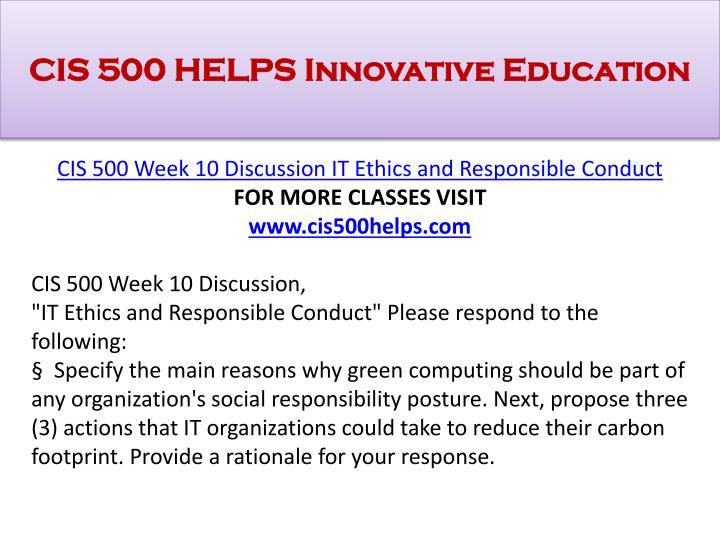 CIS 500 HELPS Innovative Education