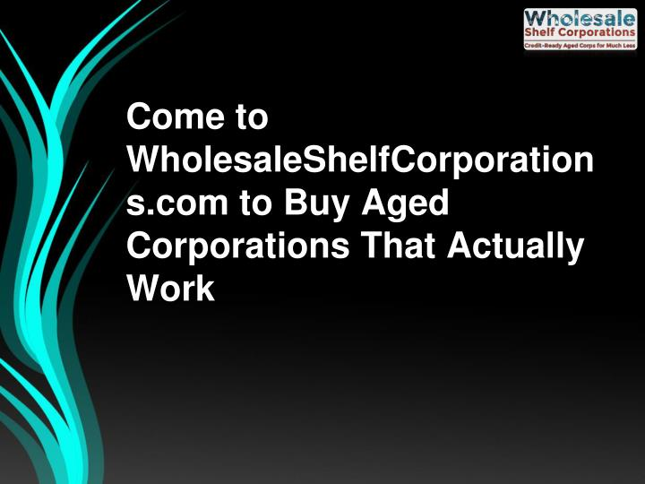 Come to wholesaleshelfcorporations com to buy aged corporations that actually work