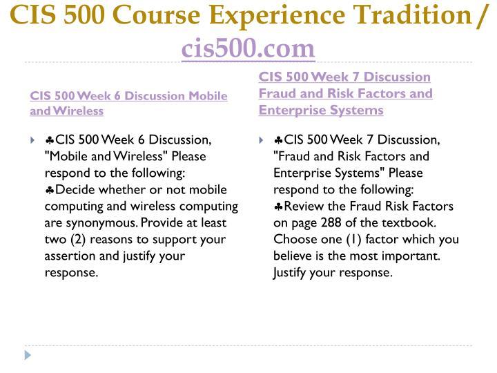 CIS 500 Course