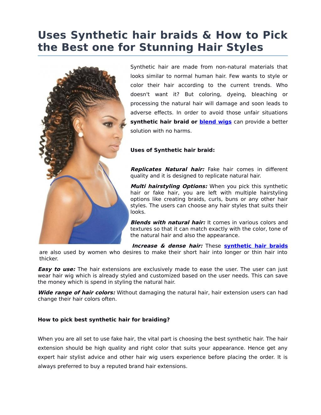 Ppt Uses Synthetic Hair Braids How To Pick The Best One For Stunning Hair Styles Powerpoint Presentation Id 7376143